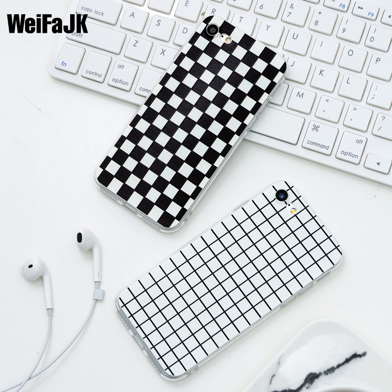 WeiFaJK Luxury Retro Black White Grid Case For iphone 7 8 Plus TPU Soft Full Cover For iphone 5 5s 6 6s PLus Cases Back Capa
