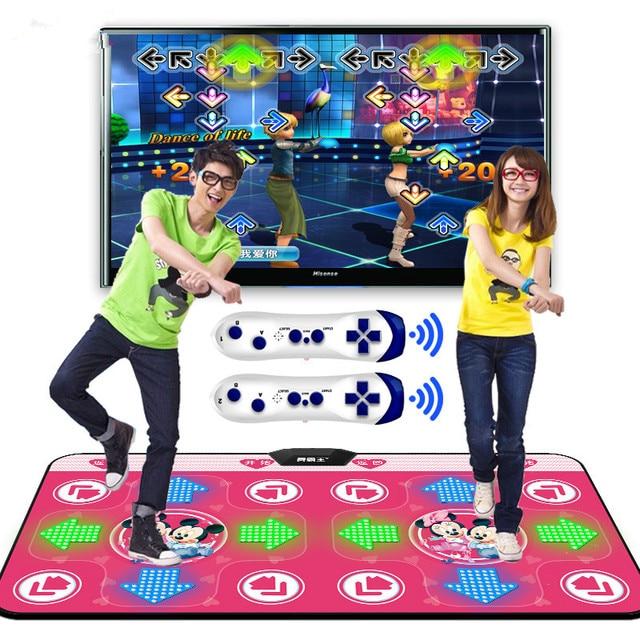 Esterilla de baile de Yoga luminosa para dos jugadores, Interfaz de ordenador de Tv, juego en casa, manta para bailarinas adelgazante, almohadilla con dos mandos