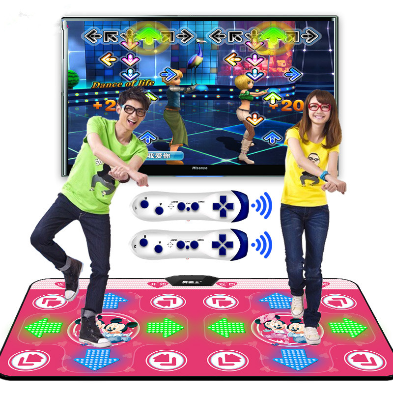 Nieuwe Lichtgevende Yoga Dansmat Dubbele Spelers Tv Computer Interface Home Game Afslanken Danser Deken Mat Pad Met Twee Gamepads