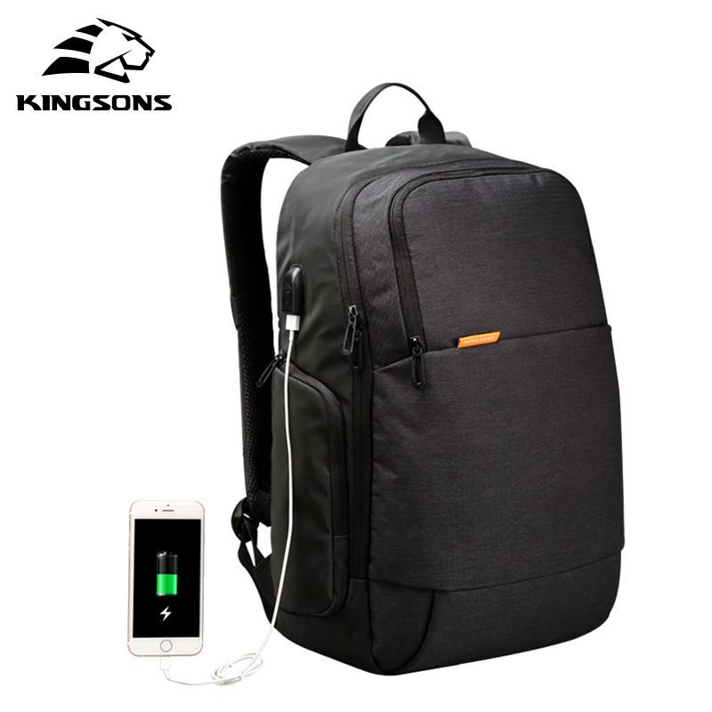 Kingsons Brand External USB Charge Laptop Backpack Anti-theft Notebook Waterproof Computer Bag 15.6 inch for Business Men Women kingsons brand external usb charge computer bag anti theft notebook backpack 15 17 inch waterproof laptop backpack for men women