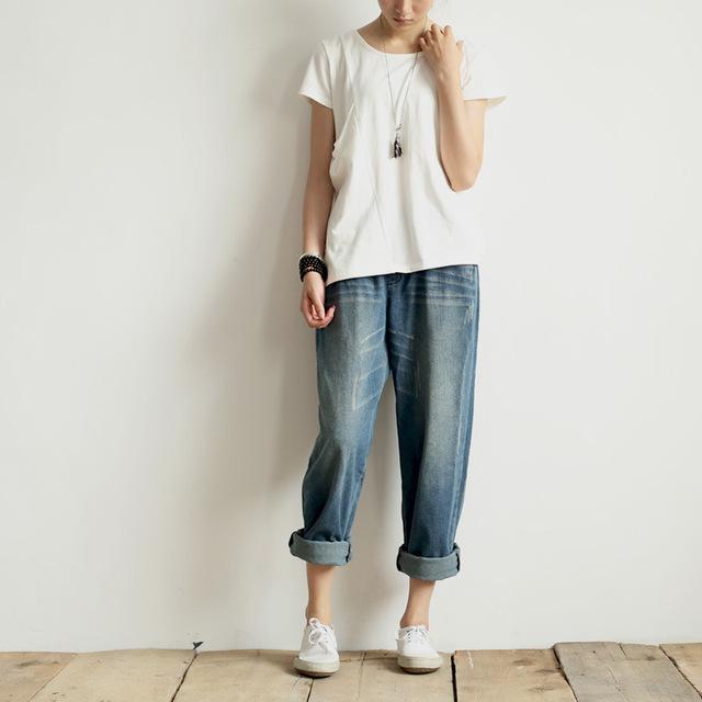 Mulheres 2017 Primavera Cintura Elástica Branqueada Arranhado Denim Calças Ocasional Das Senhoras Do Vintage Soltas calças Jeans Femininas Calças Jeans