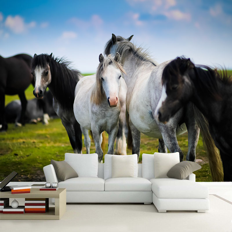 Custom horse wallpaper 3D, oil painting horse for the living room bedroom TV background wall waterproof textile papel de parede custom kids wallpaper music graffiti murals for the children s room in the garden wall waterproof fabric parede de papel
