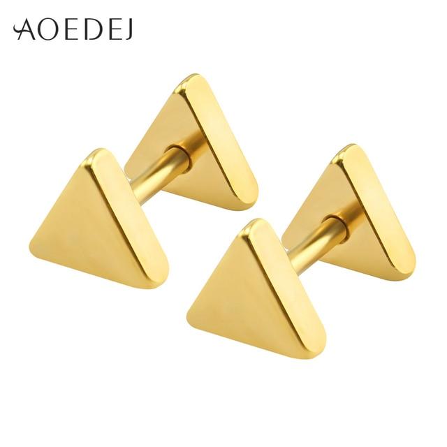 1ee2c8d4772f 5-10mm triángulo pendientes para hombre negro Stud Acero inoxidable fresco  pendientes mujeres 5 colores
