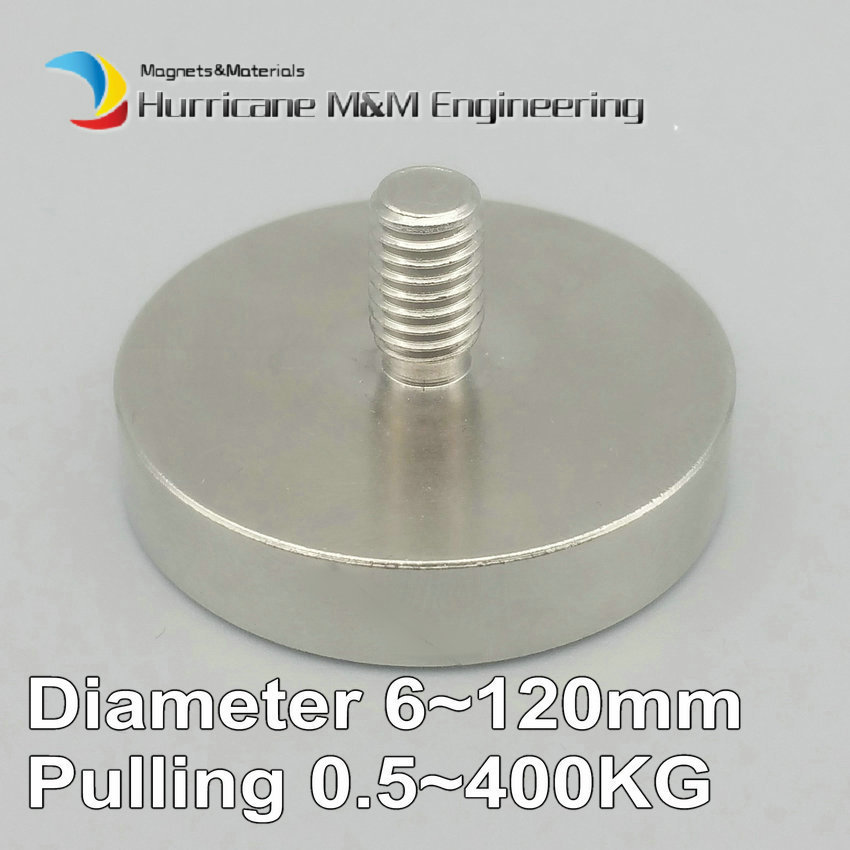Up to 400KG Mounting Magnet Diameter 16-120mm Lathed Pot Magnet Male Thread Neodymium Lifting Magnet Strong Holding Magnet 1 pack mounting magnet diameter 12 mm clamping pot magnet with steel hook neodymium lifting magnet strong magnet lathed cup