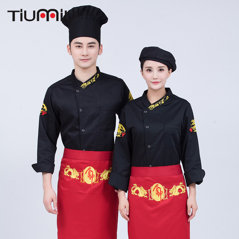 Single Breasted Embroidery Long Sleeve Cook Overalls Restaurant Food Service Kitchen Cozinha Tops Chef Uniforms Chef Jacket XXXL