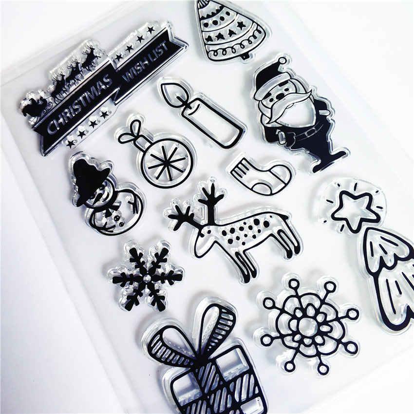 PANFELOU presente de Natal de Silicone Transparente Claro Selo/Selo para scrapbooking DIY/álbum de fotos claro Decorativo folhas de carimbo