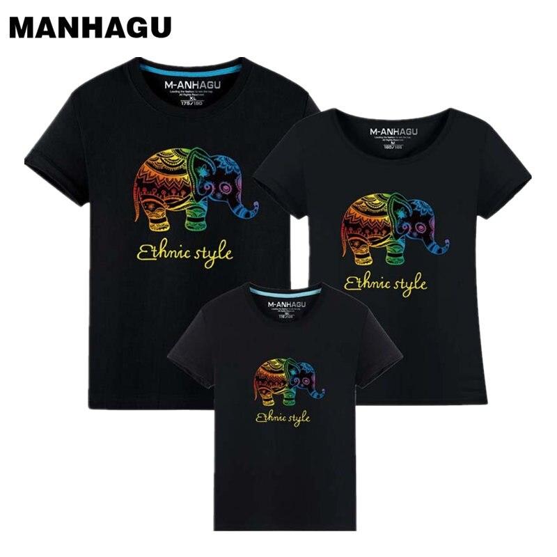 1 Sztuka Family Look 2017 Moda Cute Elephant Familia t shirt Odzież Mama i dzieci Dopasuj ubrania Tata i syn pasujące ubrania