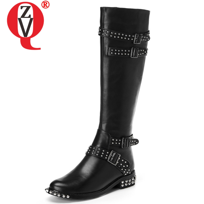 ZVQ 2018 new fashion metal rivet round toe high quality genuine leather women shoes zipper med hoof heels black knee high bootsZVQ 2018 new fashion metal rivet round toe high quality genuine leather women shoes zipper med hoof heels black knee high boots