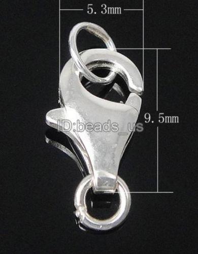 10 pcs 925 En Argent Sterling anneau fermé Lobster Claw Fermoirs Bijoux 5.3x9.5x2.5mm