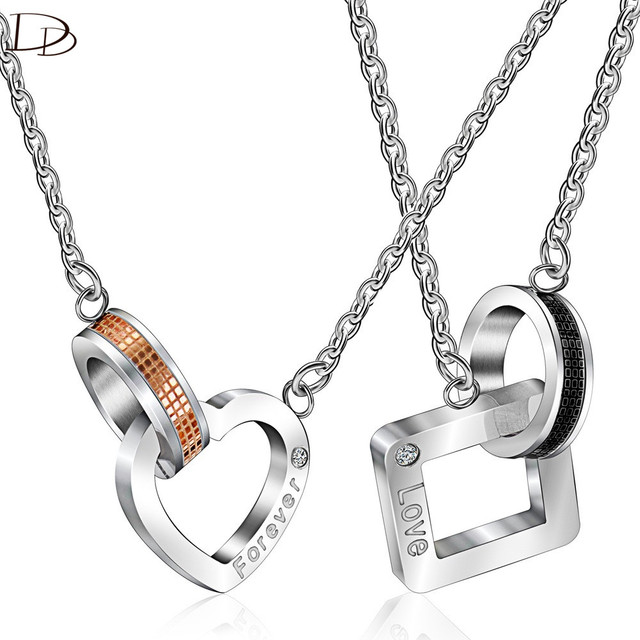 Dodo Titanium Steel Couple Pendant Necklace For Women Square Heart