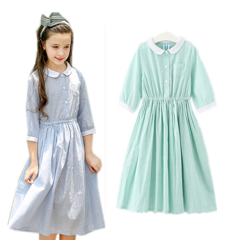 4 to 14 years kids & teenager girls peter pan collar striped mid-length sleeve spring summer shirt dress child cotton dress cute peter pan collar striped sleeveless dress for girls