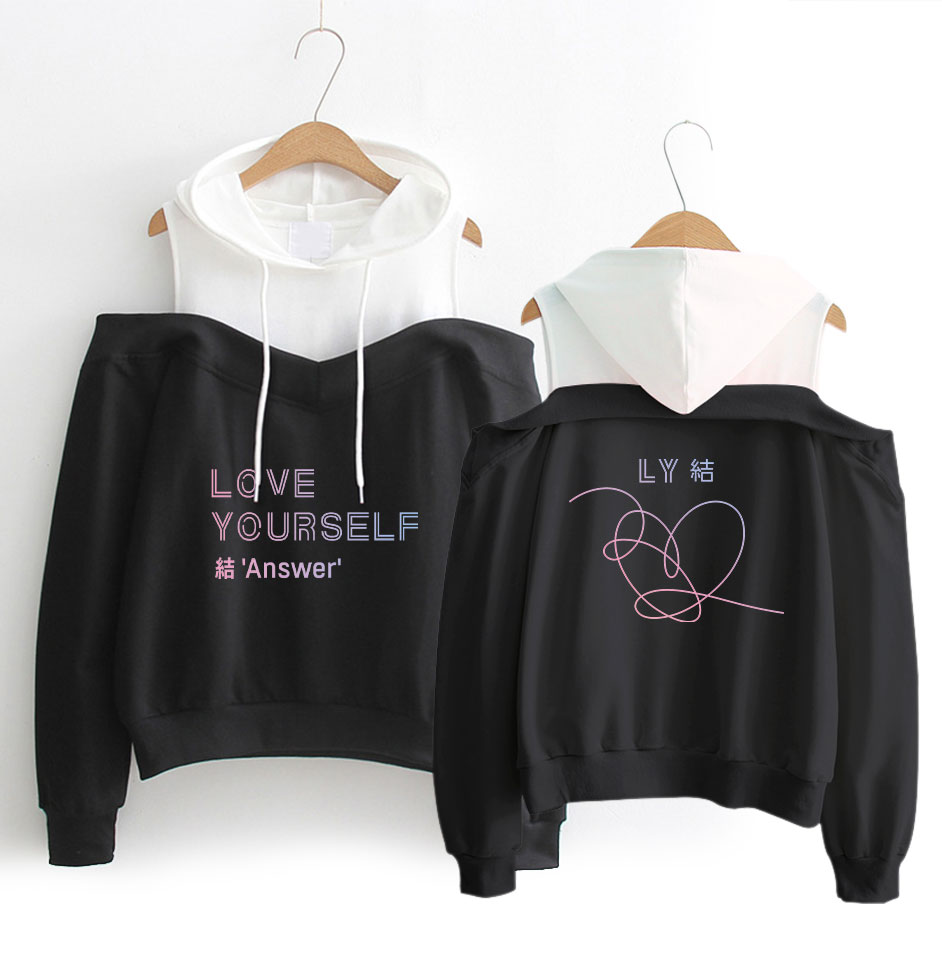 BTS album color pattern printing women's fashion hip hop casual hood long-sleeved off-shoulder sweatershirt SIZE S-XL