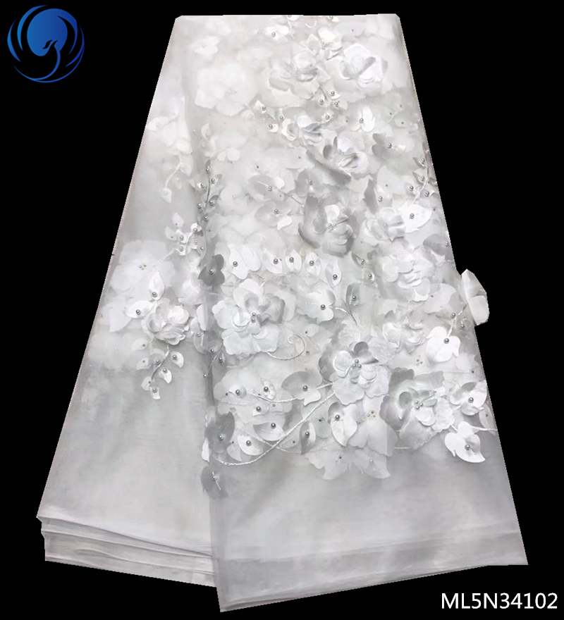 Beautifical white 3d laces fabric 2019 african tulle net laces fabrics with beads french fabric for women 5yards/lot ML5N341Beautifical white 3d laces fabric 2019 african tulle net laces fabrics with beads french fabric for women 5yards/lot ML5N341