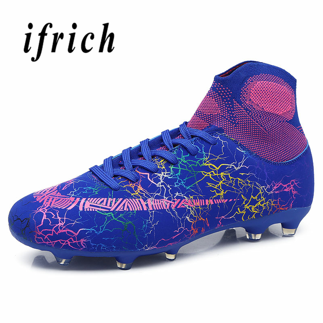Football Sock Boots Men Blue Black Soccer Sneakers Wearable Male Turf or Long Spike Football Shoes Lace Up Outdoor Soccer Shoes