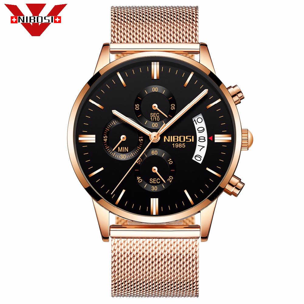 NIBOSI レロジオ Masculino メンズウォッチトップブランドの高級ミリタリークォーツ腕時計メンズスポーツ腕時計 Saat 金属 Milanes バンド