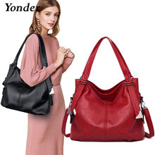 Yonder brand fashion women's shoulder bag female genuine leather handbags ladies bag high quality large tote bag Black/red/gray(China)