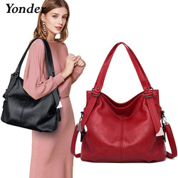 Yonder new fashion women leather handbags female genuine leather shoulder crossbody bag ladies large bucket tote bag Black/red