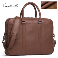 CONTACT S Brand Briefcases Genuine Leather Men Messenger Bags New Fashion Male Shoulder Portfolio Laptop Bag