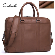 CONTACT'S Marke Aktentaschen aus echtem Leder Herren Messenger Bags New Fashion Male Schulter Portfolio Laptop Tasche Handtasche