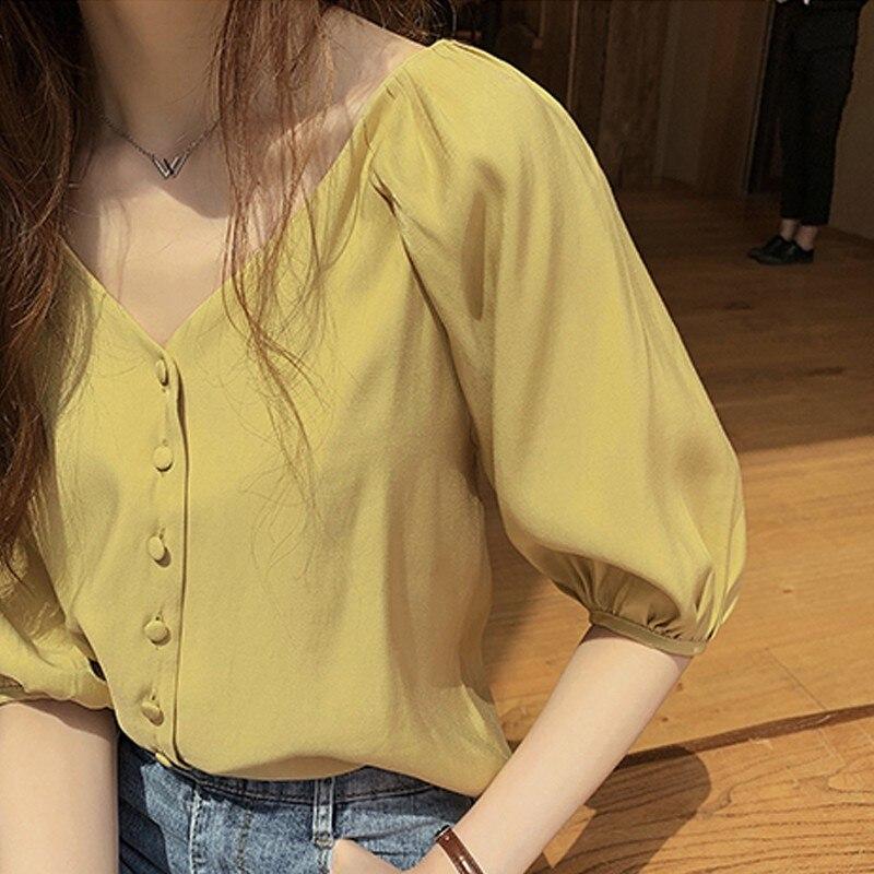 Summer Tops Women Blouses Sexy Puff Sleeve Blouse Women Shirts Ruffle Top Streetwear Korean V Neck Solid Shirt