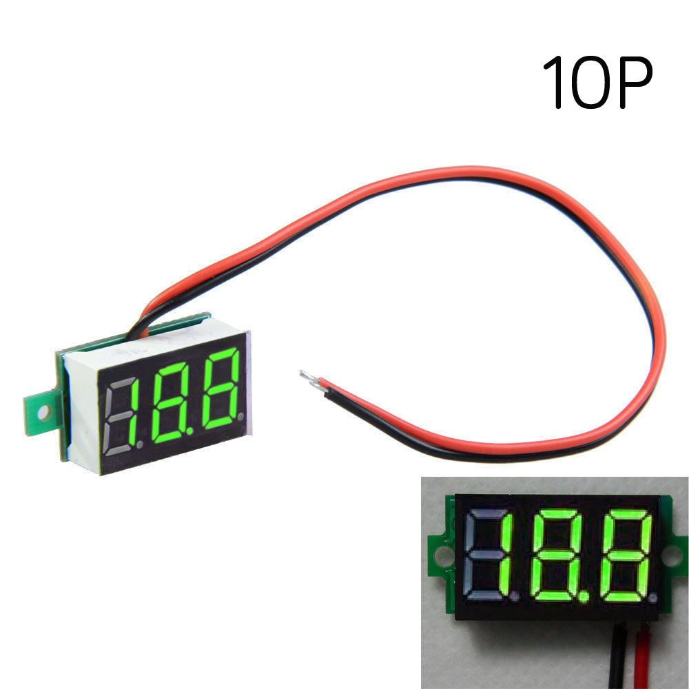1 PC New 30X10mm 2-Line Mini Digital Voltmeter Green LED Panel Voltage Meters 3- Digital Display Voltage Voltmeter VE799 P
