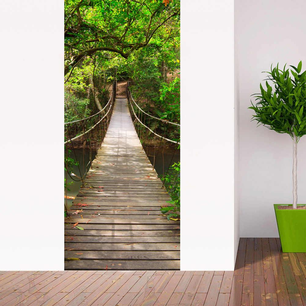 2 قطعة/المجموعة السرير غرفة المعيشة بوابة الباب ملصقا للماء الذاتي لاصق 3D الخشب جسر الأبواب تحديث الباب ملصقات المنزل ديكور