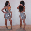 Sexy club dress 2017 primavera mulheres lantejoula strap mangas backless dividir dress prata glitter bling partido mini sequined dress