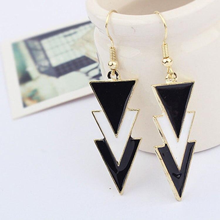 Fashion Long Earrings for Women Black Earrings Vinage Dangle Earring Drop Earrings Geometric Triangle Famous