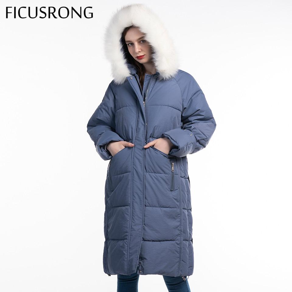 FICUSRONG Fashion Woman Hooded Fur Collar Solid Winter Coat Parkas Long 2019 New Cotton Winter Parka Jacket Loose Female