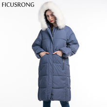 Fashion Women Long Parkas Winter Hooded Coat With Solid White Fur Collar 2019 New Winter Jacket Women Outwear Female FICUSRONG(China)