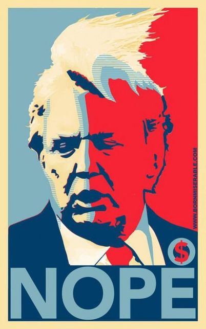 Nope Hair Flying Donald Trump Pop Art Funny Propagada ...