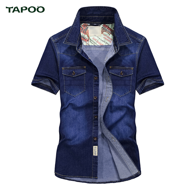 5f4f276c0b TAPOO 2017 Denim Azul Oscuro Azul Claro Azul Oxforb Hombres camisas Simple  Moda Masculina Camisas Cortas