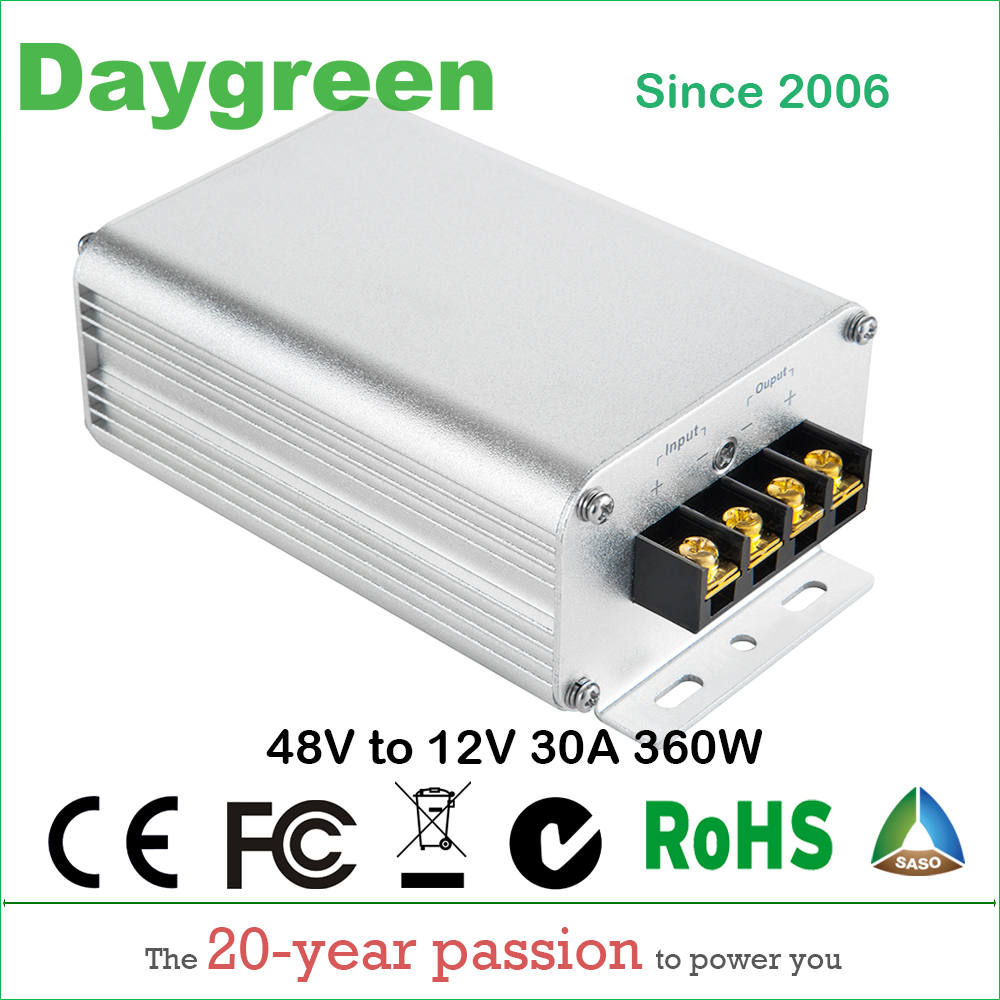 36V 48V to 12V 30A 360W Golf Cart Voltage Reducer DC DC Step Down Converter CE RoHS Certificated 36VDC 48VDC to 12VDC 30AMP