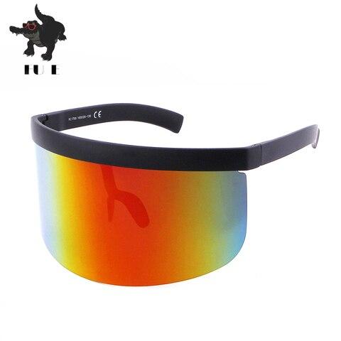 FU E Vintage Extra Oversize Shield Visor Sunglasses Women Flat Top Mask Mirrored Shades Men Windproof Eyewear Gafas de sol Lahore
