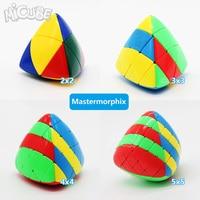 Комплект 4 шт. 2 шт. Shengshou Mastermorphix 2x2 3x3 4x4 5x5 риса клецки Невидимый волшебный куб Puzzle игрушки красочные разноцветные 5x5x5