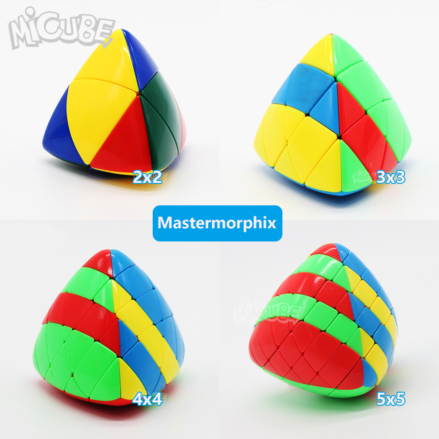 Set 4pcs 2pcs Shengshou Mastermorphix 2x2 3x3 4x4 5x5 Rice Dumpling Stickerless Magic Cubes Puzzle Toy Colorful Multicolor 5x5x5