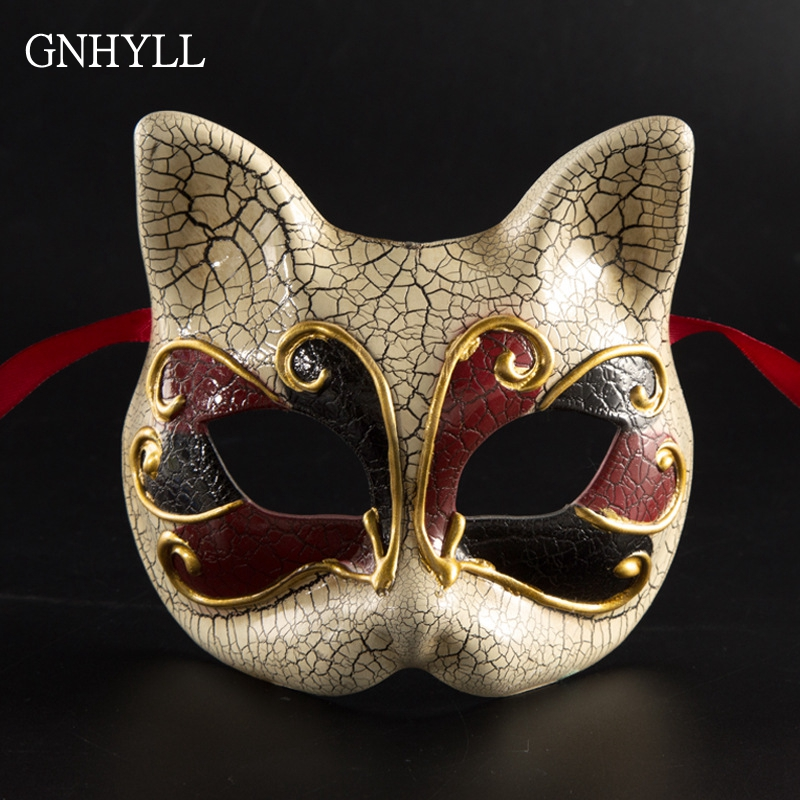 GNHYLL HOT! NEW fashion Masquerade children Venice crack mask party funny cute kitten Princess mask and mask props toys cosplay