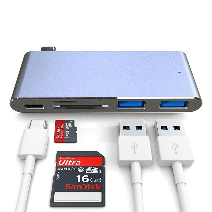 Original USB Type-C to USB3.0 Hub+SD TF(Micro SD) Card Reader+PD Charge USB-C Converter for Air Pro Chromebook Type-C Laptop satechi aluminum type c usb 3 0 and micro sd card reader gold b01eu2kri8 st tccrag