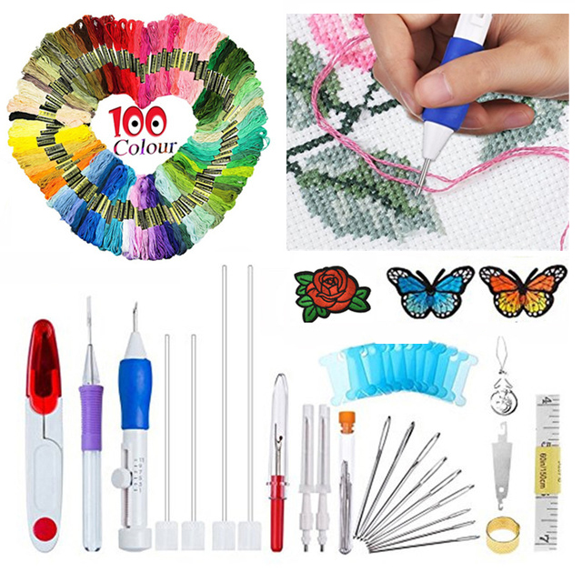 100pcs Threads For DIY Sewing Tools Accessories Magic Embroidery Pen Punch Needle Set Kit Craft Tool Embroidery Needle Set in Sewing Tools Accessory from Home Garden