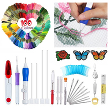 100pcs Threads For DIY Sewing Tools Accessories Magic Embroidery Pen Punch Needle Set Kit Craft Tool