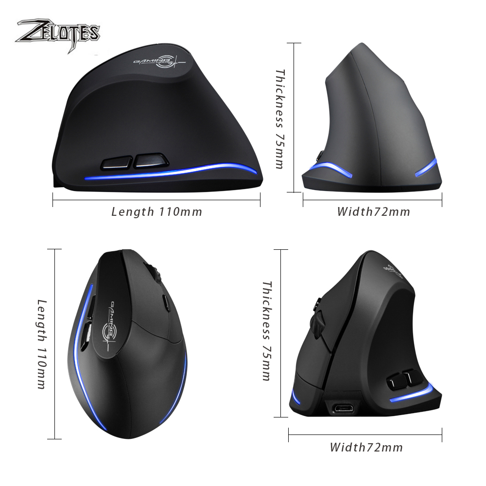ZELOTES F-35 2.4GHz Wireless Rechargeable 2400DPI 6 Button Vertical Mouse Mice
