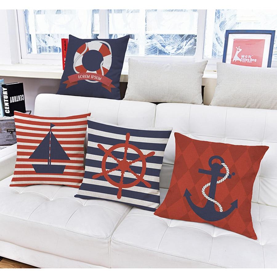 Nordic Style Home Decorative Throw Pillows Sea Sailing Cushion Boat Anchor Pillowcase funda cojines travel 45x45cm