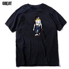 119efc704c02e Gece parti parti erkek gömleği moda kişilik Batı denim desen T-Shirt gevşek  kısa kollu