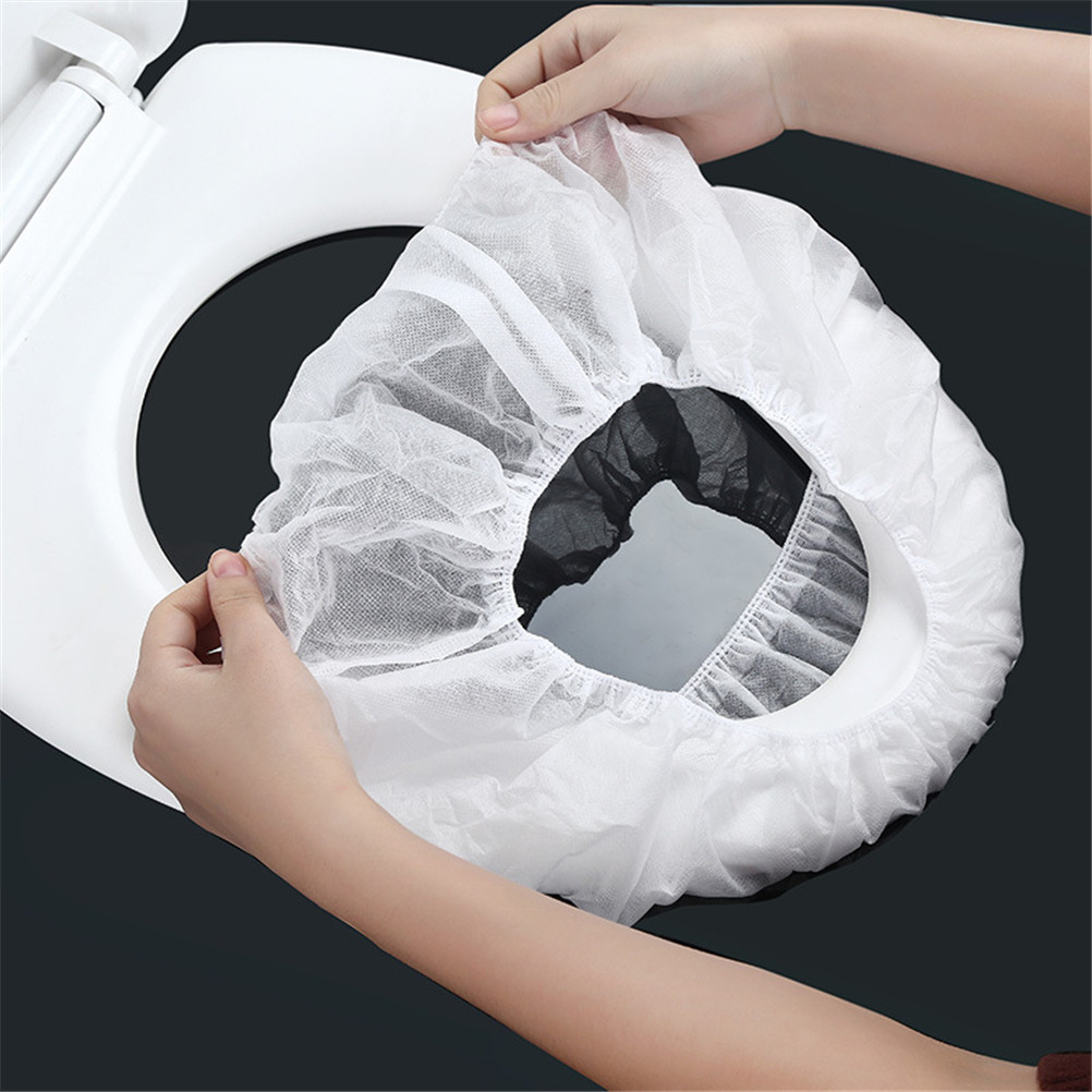 1 قطع الحمام غير المنسوجة الأقمشة مرونة مقعد مرحاض صحي غطاء غطاء مقعد حمام قابل للإستخدام لمرة واحدة فقط الطبيعي الأبيض المرحاض غطاء مقعد