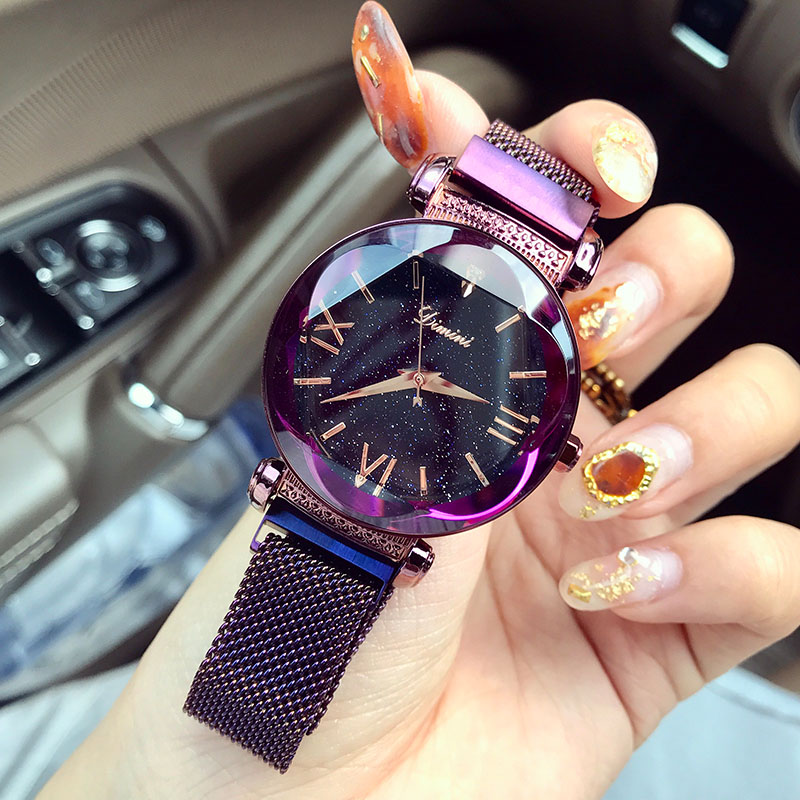 все цены на Watches Women Luxury Brand Lady Crystal Wrist Watches Starry sky Fashion Woman Quartz Ladies Magnet Strap Free Buckle Watches онлайн