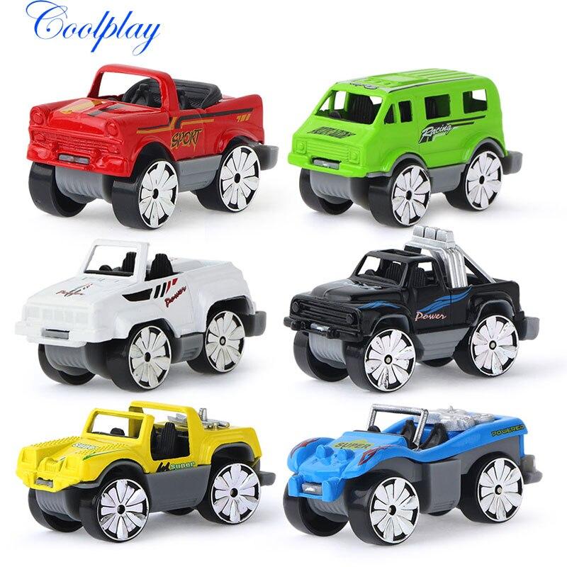6PCS Mini Cute Alloy Car Model Children Kids Sliding Models Car Toys Vehicle Jeep Bus Car Educational Toys Model for Kids }