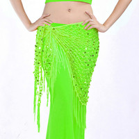 Trajes de danza del vientre accesorios para las mujeres naranja rojo de malla de oro sirena paillette danza del vientre cadera bufanda