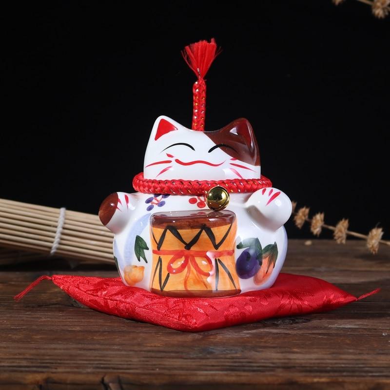 Ceramic Handicraft Chinese Lucky Cat Piggy Bank Office Home Decor Friend Kids Gift Money Box Student Saving Box New Design