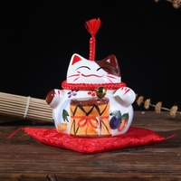 Ceramic Handicraft Chinese Lucky Cat Piggy Bank Office Home Decor Friend Kids Gift Money Box Student