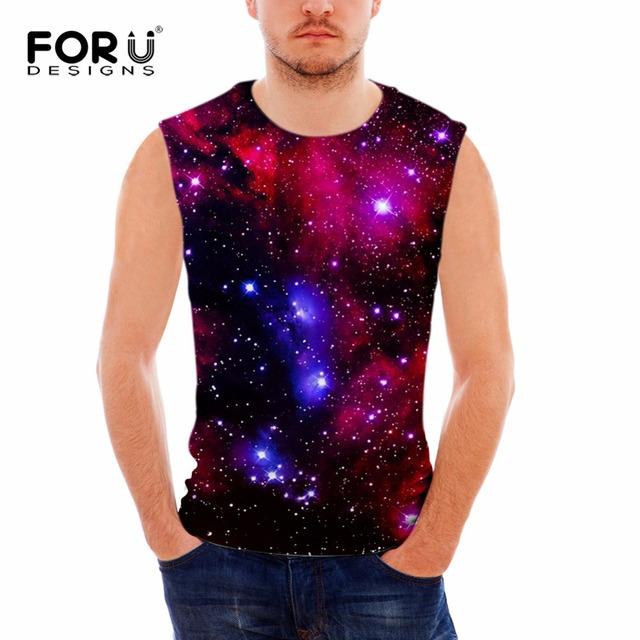 Parte superior do tanque dos homens coletes musculação academias forudesigns 3d galaxy star universo espaço impressão dos homens colete de algodão sem mangas blusa masculina